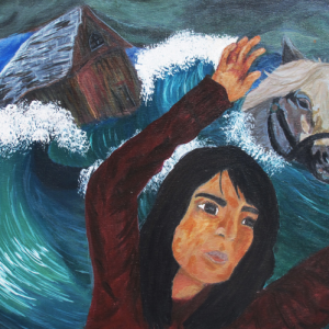 Self-Portrait, Girl, horse and a house in waves