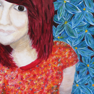 Self-Portrait, Girl with red hair and blue flowers