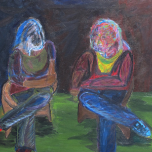 Self-Portrait, Two people sitting with legs crossed
