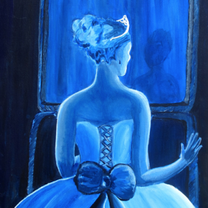 Self-Portrait, Blue Girl with dress and bow