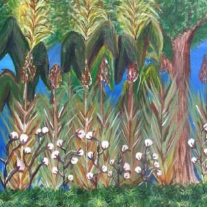 Self-Portrait, Cotton plants