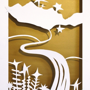 Mountain Landscape on Gold